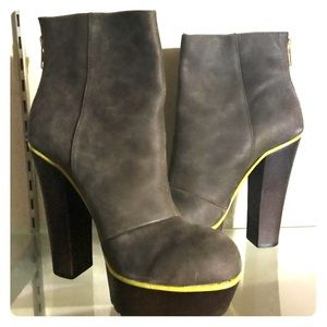 Betsey Johnson Gray Yellow Chunky Heel Ankle Boots